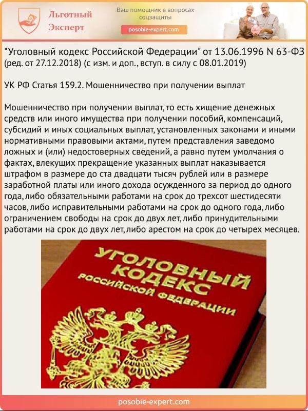 УК РФ Статья 159.2. Мошенничество при получении выплат