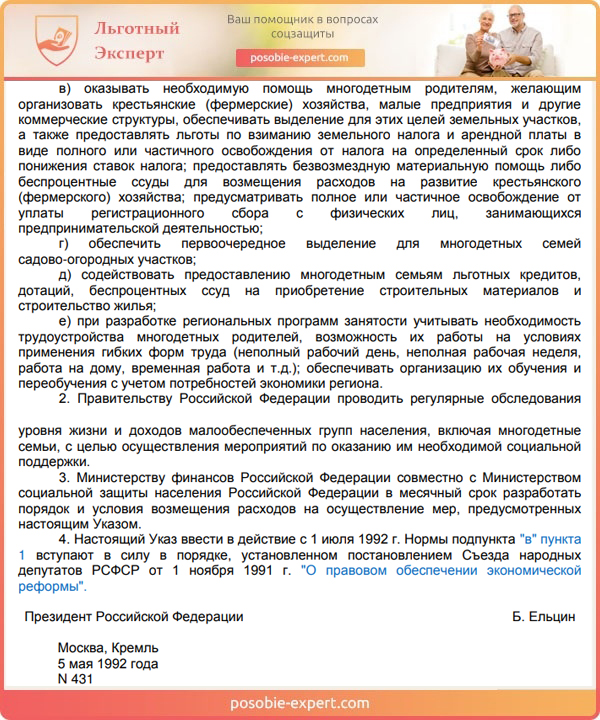 Указ Президента РФ «О мерах по социальной поддержке многодетных семей» (2-ая часть)