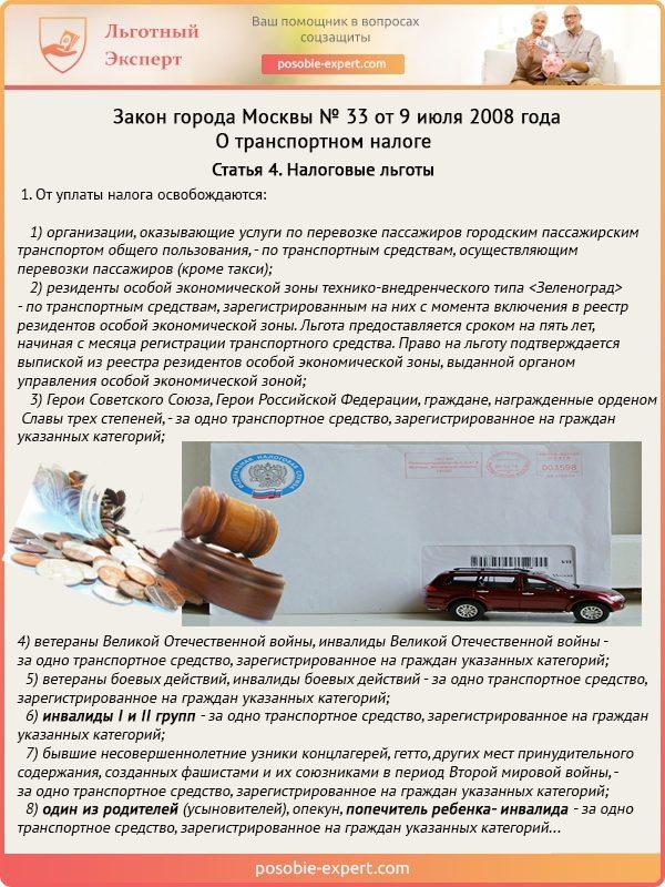 Выдержка из статьи 4 Закона города Москвы №33 от 9 июля 2008 года