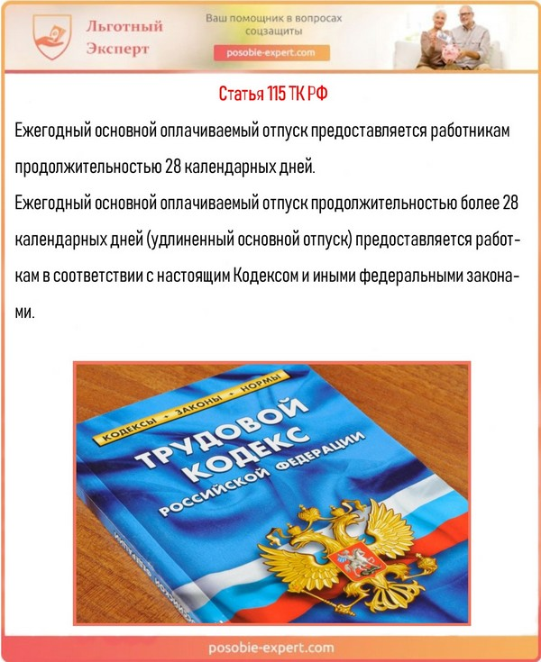 Статья 115 ТК РФ