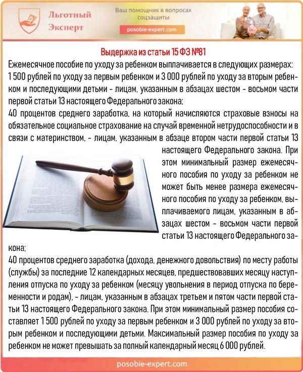 Выдержка из статьи 15 ФЗ №81