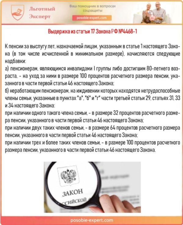 Выдержка из статьи 17 Закона РФ №4468-1