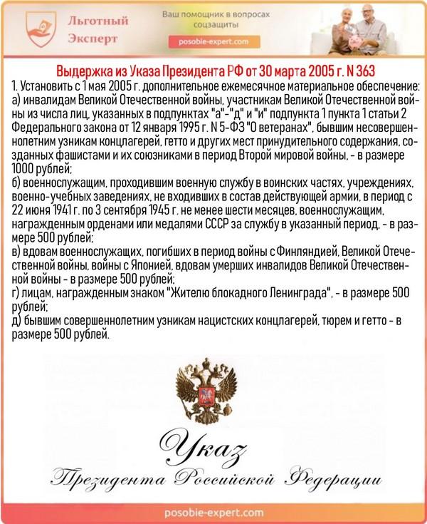 Выдержка из Указа Президента РФ от 30 марта 2005 г. N 363