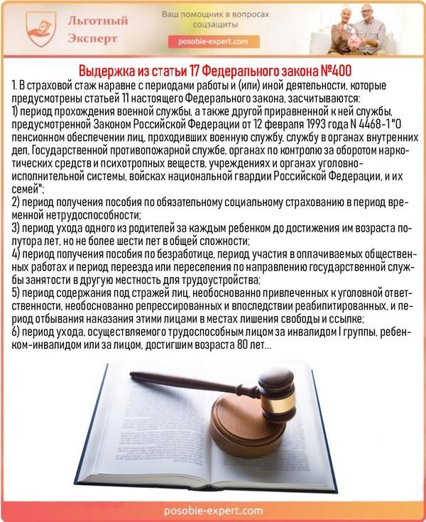 Выдержка из статьи 17 Федерального закона №400