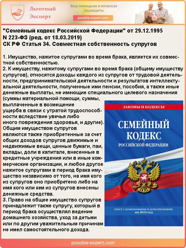 Семейный кодекс РФ N 223-ФЗ. Статья 34 «Совместная собственность супругов»